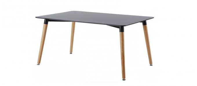 Table à manger rectangulaire design noire 140cm - Brevik