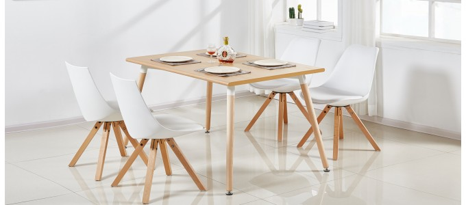 Table à manger rectangulaire scandinave chêne 120cm - Brevik