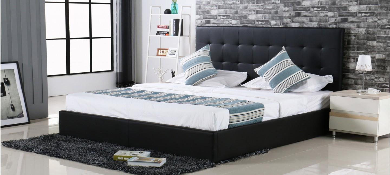 lit design avec coffre rangement noir dream. Black Bedroom Furniture Sets. Home Design Ideas