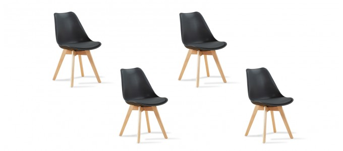 Lot de 4 chaises scandinaves noires - Bjorn
