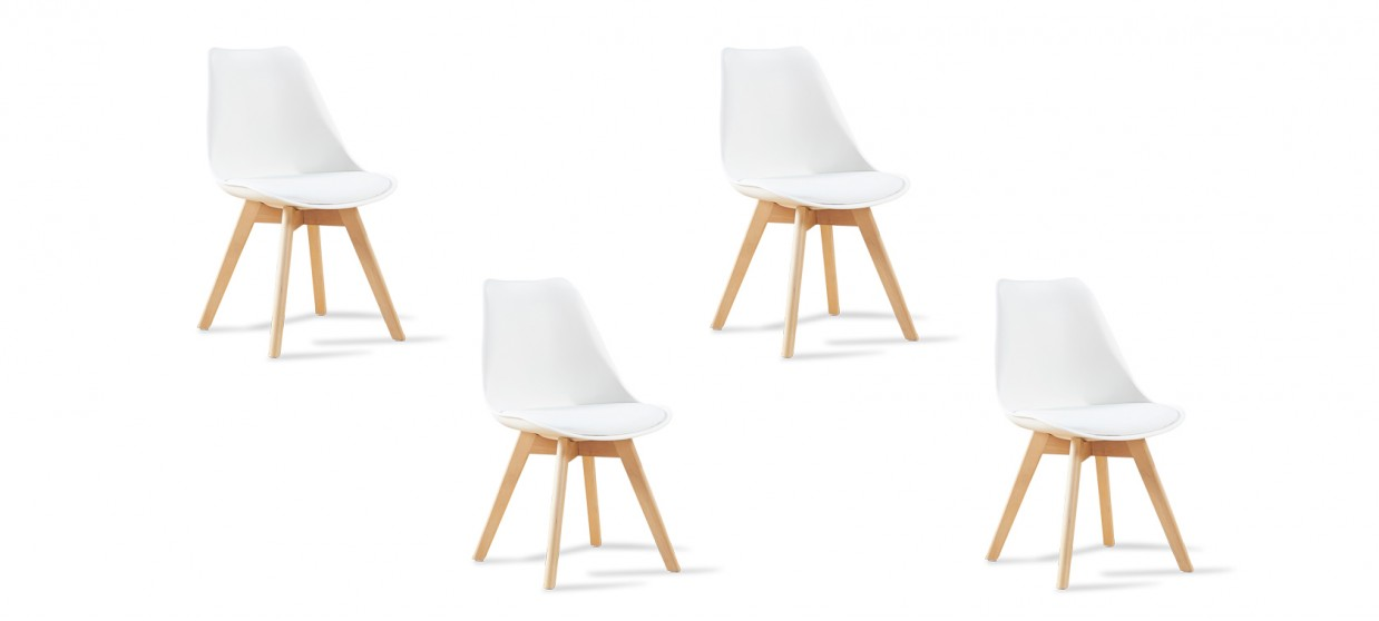 Lot de 4 chaises scandinaves blanches - Bjorn