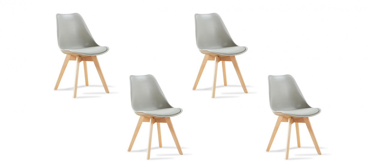 Lot de 4 chaises scandinaves grises - Bjorn