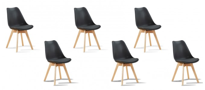 Lot de 6 chaises scandinaves noires - Bjorn