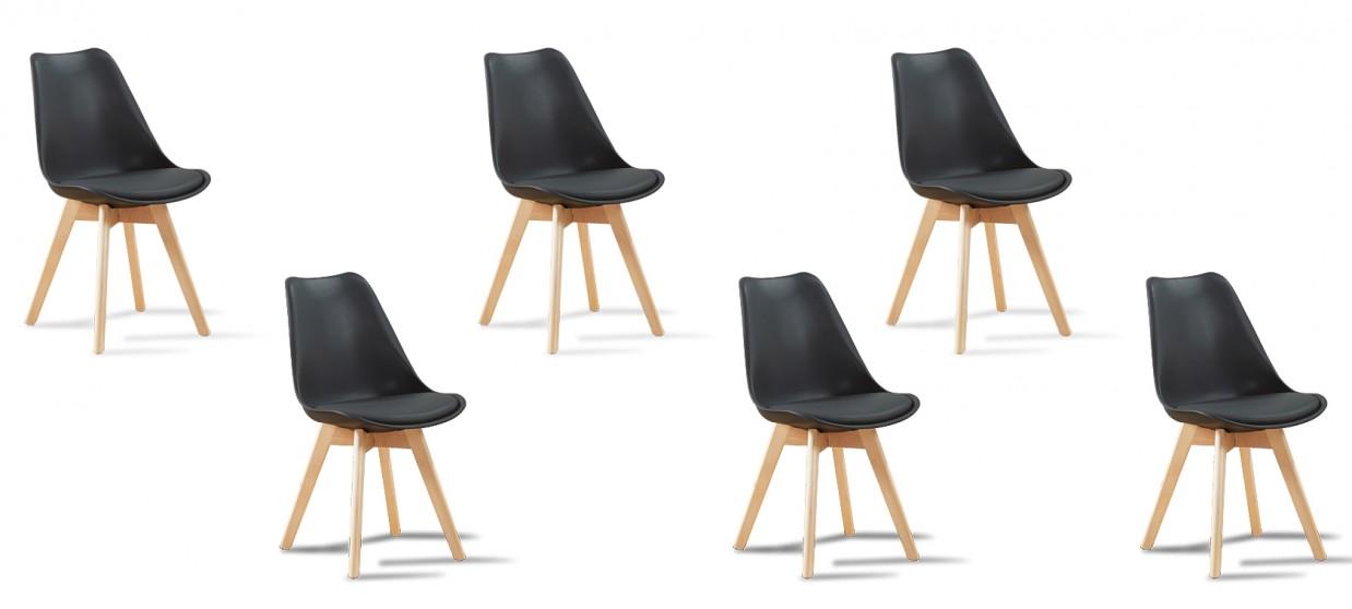 Lot de 6 chaises scandinaves noires - Bjorn