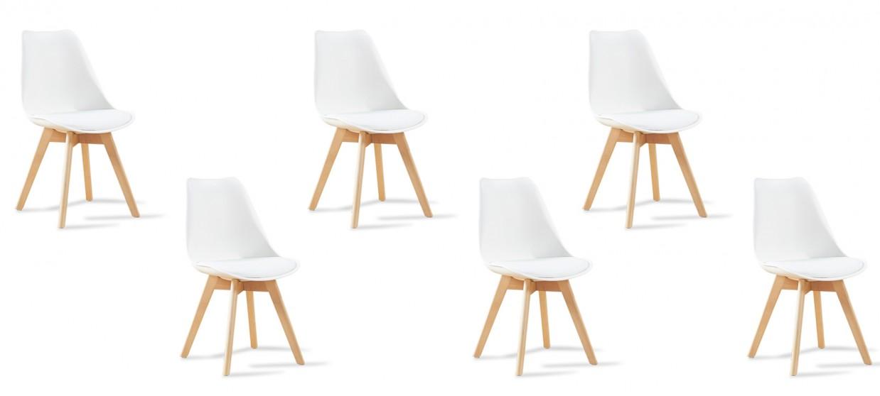 Lot de 6 chaises scandinaves blanches - Bjorn