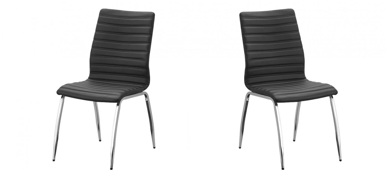 Chaise noire de cuisine en simili cuir prix canon for Chaise noire salle a manger