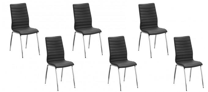 Lot de 6 chaises salle à manger noires - Londres
