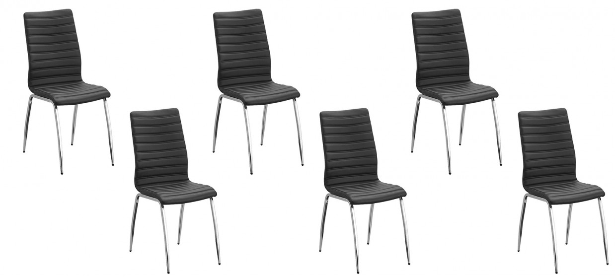 lot de 6 chaises matelass es noires design. Black Bedroom Furniture Sets. Home Design Ideas