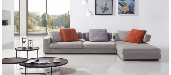 Canapé d'angle 5 places en tissu gris - Volga