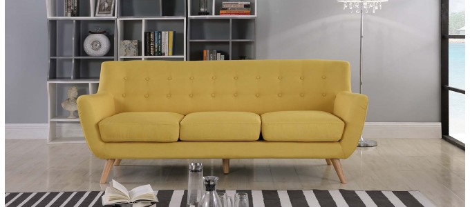Canapé 3 places scandinave en tissu jaune moutarde - Nils