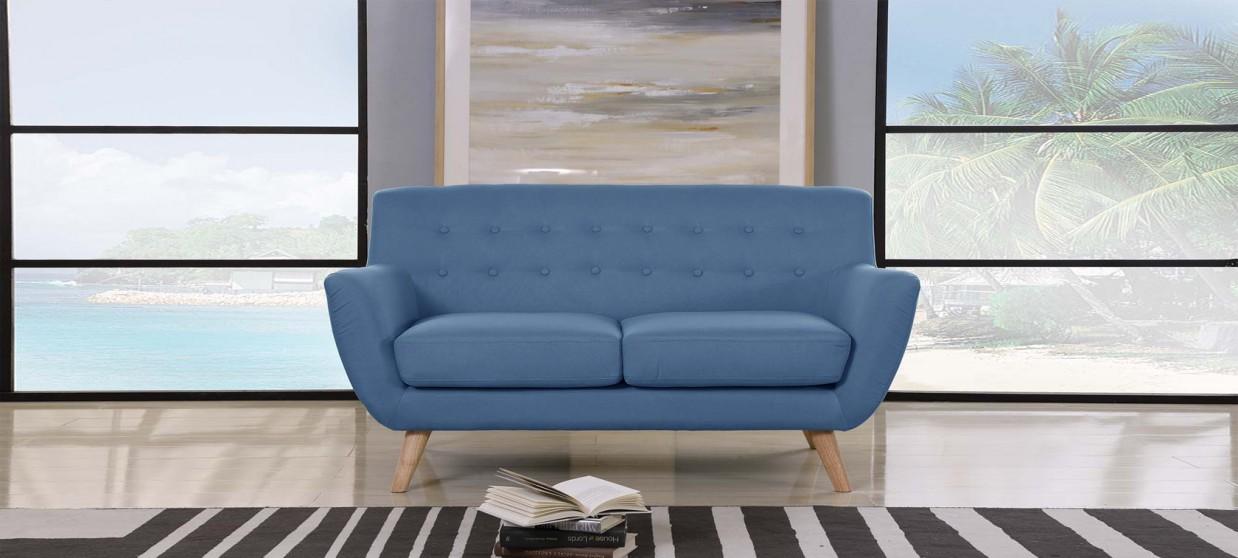 Canapé 2 places scandinave en tissu bleu - Nils