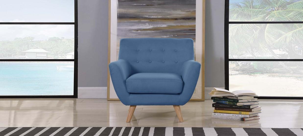 Fauteuil scandinave en tissu bleu - Nils