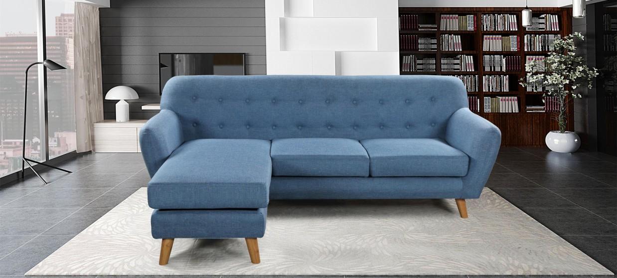 Canapé angle réversible scandinave bleu - Sven