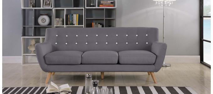 Canapé 3 places scandinave en tissu gris - Nils