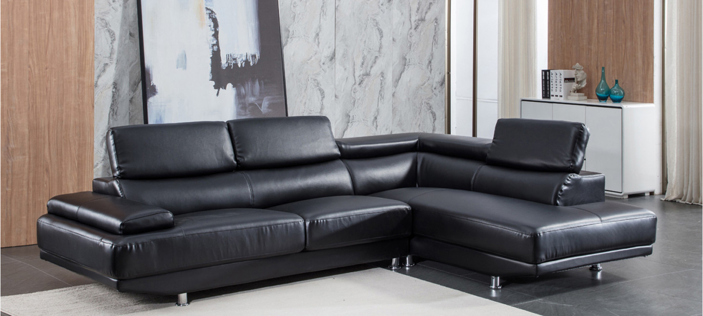 canap d 39 angle en cuir noir prix incroyable. Black Bedroom Furniture Sets. Home Design Ideas