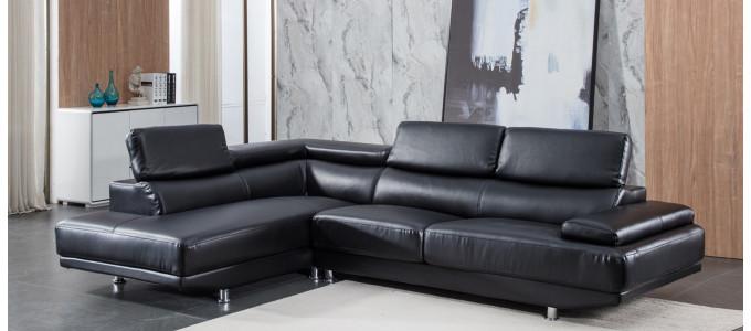 Canapé d'angle gauche en cuir noir - Hudson