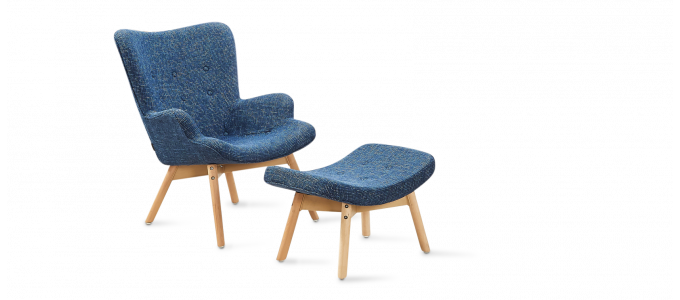 Fauteuil scandinave bleu patchwork - Stockholm