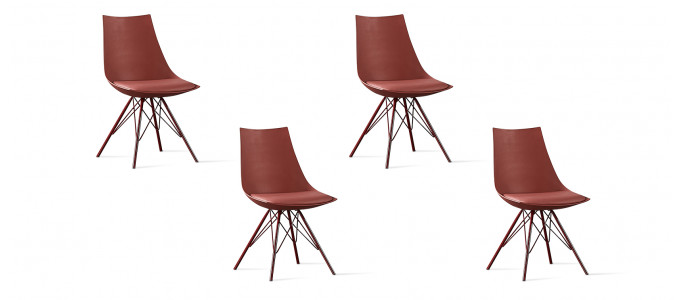 Lot de 4 chaises design rouges - Eiffel