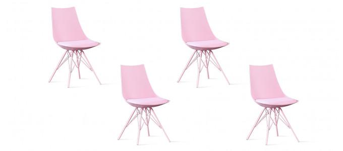 Lot de 4 chaises design roses - Eif