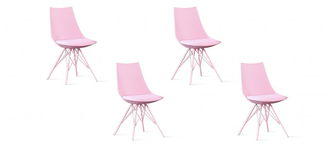 Lot de 4 chaises design roses - Eiffel