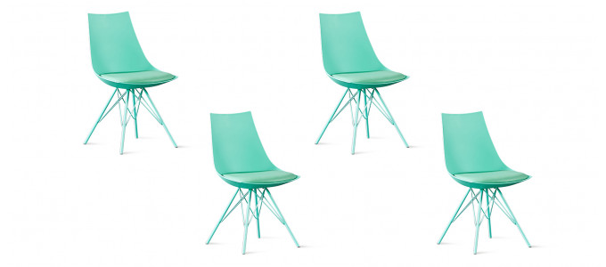 Lot de 4 chaises design vertes - Eiffel