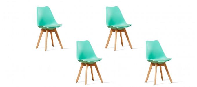 Lot de 4 chaises scandinaves vertes - Bjorn