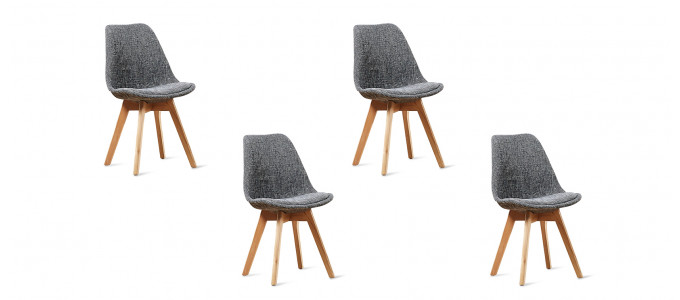 Lot de 4 chaises scandinaves grises patchwork - Bjorn