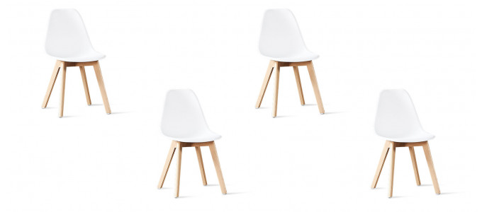 Lot de 4 chaises scandinaves blanches - Onir