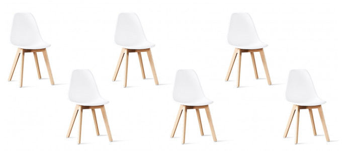 Lot de 6 chaises scandinaves blanches - Onir