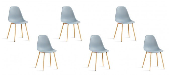Lot de 6 chaises scandinaves grises - Ela