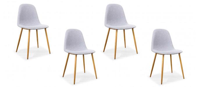 Lot de 4 chaises scandinaves grises - Romano