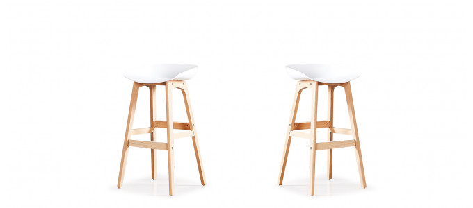 Lot de 2 tabourets de bar scandinaves blancs - Bera