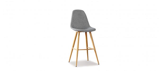 Chaise haute scandinave tissu damier - Kliff