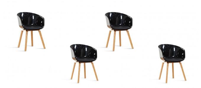 Lot de 4 chaises scandinaves noires - Vali
