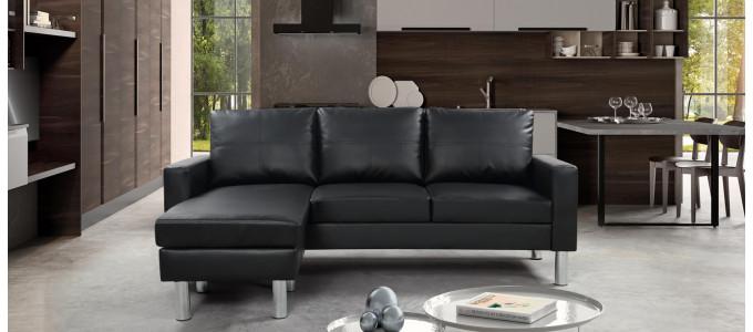 Canapé angle réversible en Simili (PU) noir - Nastan