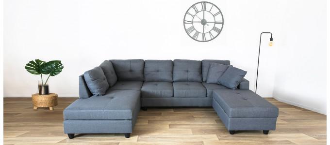 Canapé angle réversible tissu gris coffre de rangement - Viggo