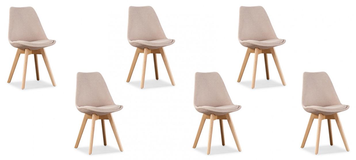 Lot de 6 chaises scandinaves tissu beige - Bjorn