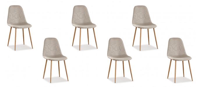 Lot de 6 chaises scandinaves tissu beiges - Ela