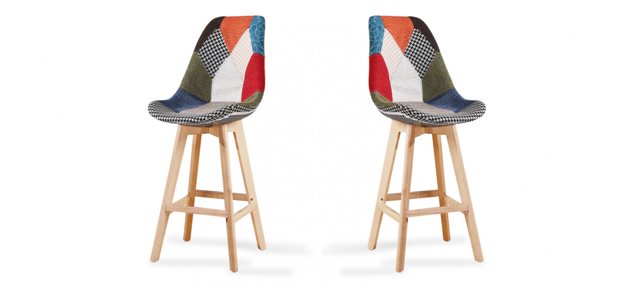 Lot de 2 tabourets de bar scandinaves Patchwork - Gotteborg