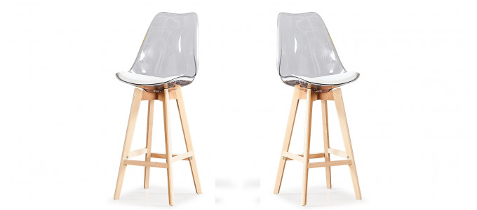 Lot de 2 tabourets de bar scandinaves transparents - Gotteborg