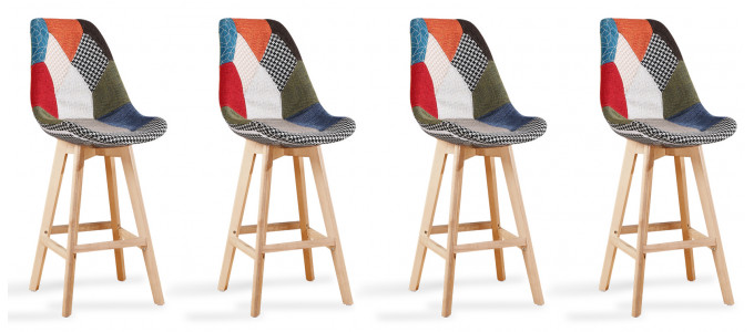 Lot de 4 tabourets de bar scandinaves Patchwork - Gotteborg