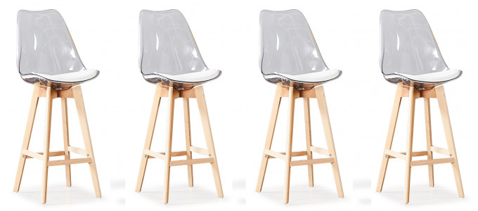 Lot de 4 tabourets de bar scandinaves transparents - Gotteborg