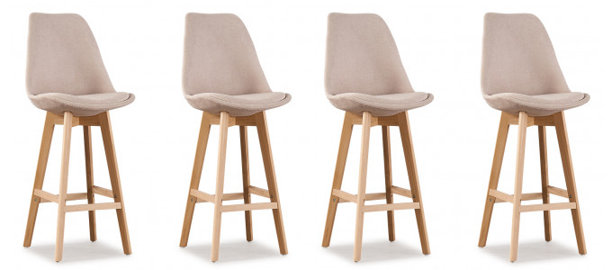 Lot de 4 tabourets de bar scandinaves tissu beige - Gotteborg