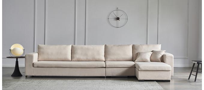 Ensemble canapé d'angle droit et fauteuil en tissu beige - Opéra