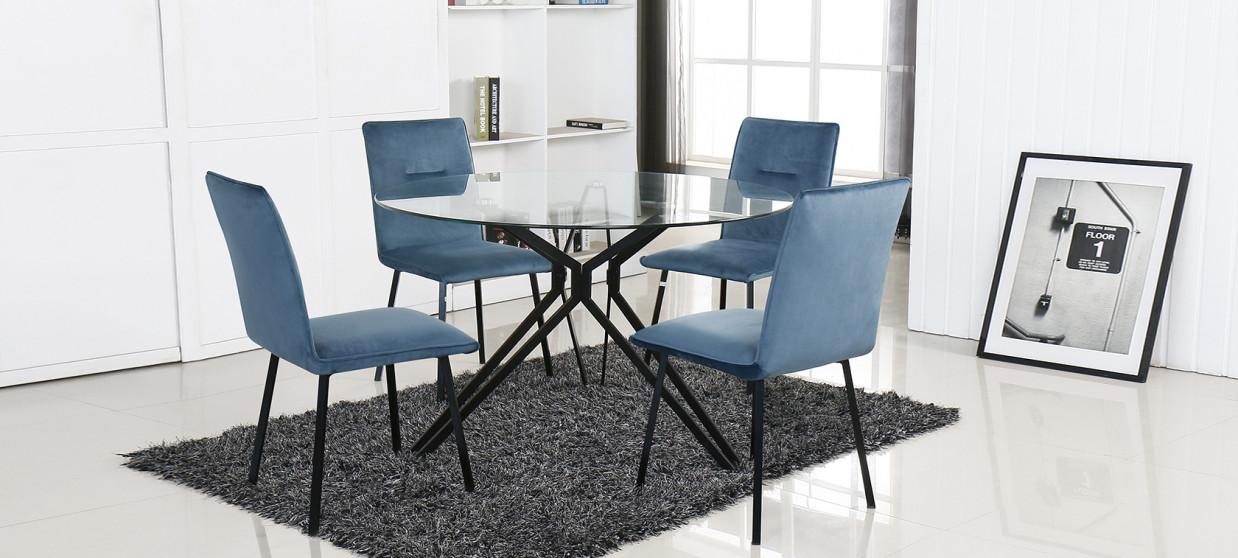 Table à manger design ronde en verre 120cm - Matera