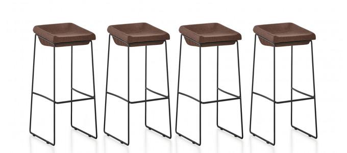 Lot de 4 chaises hautes en tissu marron - Udinese