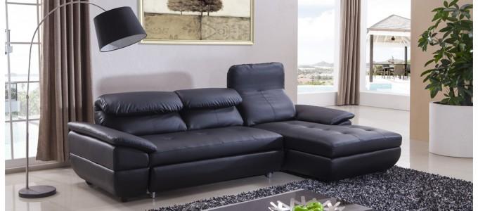 Canapé d'angle droit convertible en cuir noir - Mezzio