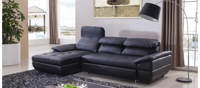 Canapé d'angle gauche convertible en cuir noir - Mezzio