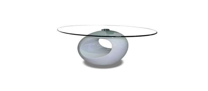 Table basse design ronde blanche - Symbiose