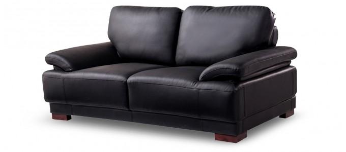 Canapé 2 places en cuir noir - Glam